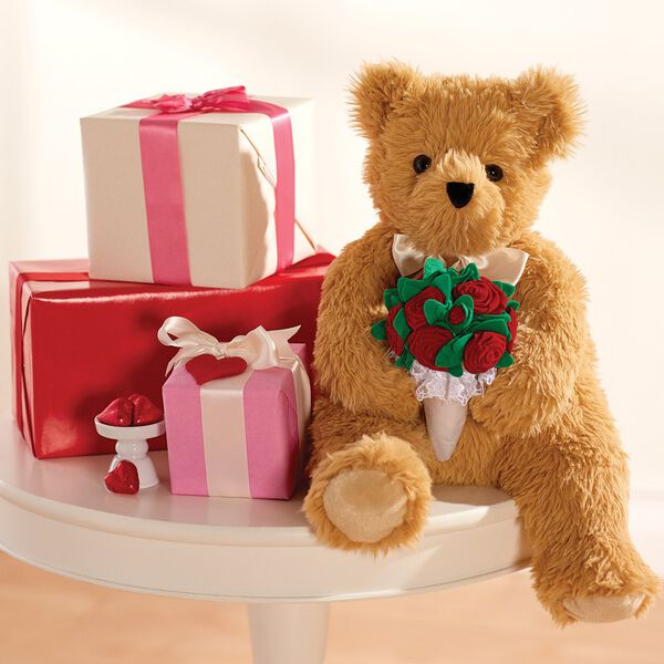 "20"" World's Softest Bear with  Rose Bouquet image number 0"