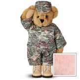 """15"""" Camouflage Bear - Front view of Standing jointed bear dressed in a digital camouflage military outfit with American flag on the bear's right sleevewith """"Kennedy"""" personalized on the left chest - Pink image number 5"""