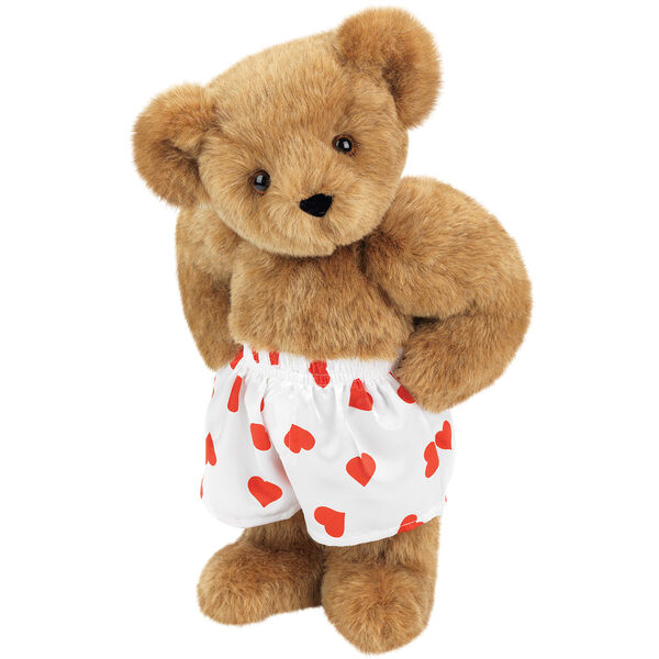 """15"""" Heart Throb Bear - Three quarter view of standing jointed bear dressed in white satin boxers with red hearts - Honey brown fur image number 0"""