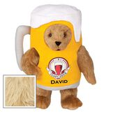 "15"" Cheers to You Bear - Standing jointed bear dressed in gold and white beer mug costume with Vermont Teddy Bear beer bottle graphic that says ""Teddy Beer"". Personalized with David below graphic in black lettering - Maple brown fur image number 3"
