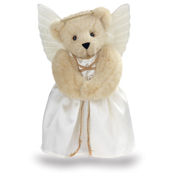 "15"" Angel Bear - Standing jointed bear in a ivory satin dress with satin angel wings and gold metallic halo - Buttercream brown fur image number 1"