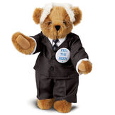 """15"""" Bernie Sanders Bear - Standing Honey Bear with Brown eyes, black suit, blue tie, iconic white hair, glasses and campaign pin image number 0"""
