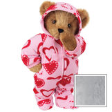 "15"" Hoodie-Footie Sweetheart Bear - Front view of standing jointed bear dressed in pink hoodie footie with red heart pattern personalized with ""Anne"" in black on left chest - Gray image number 6"