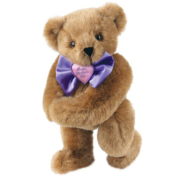 """15"""" Happy Mother's Day Bow Tie Bear - Standing jointed bear dressed in purple satin tie; """"Happy Mother's Day"""" is embroidered on pink satin heart center - Honey brown fur image number 1"""