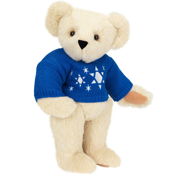 "15"" Chanukah Sweater Bear - Standing jointed bear dressed in blue knit sweater with white Star of Davids embroidered on the front - Buttercream brown fur image number 1"