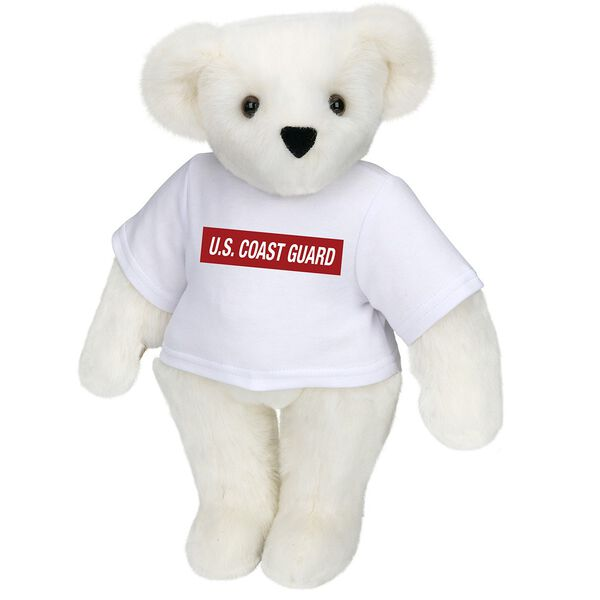 """15"""" Coast Guard T-Shirt Bear - Front view of standing jointed bear dressed in white t-shirt with dark red graphic that says, """"U.S. COAST GUARD"""" - Vanilla white fur image number 2"""