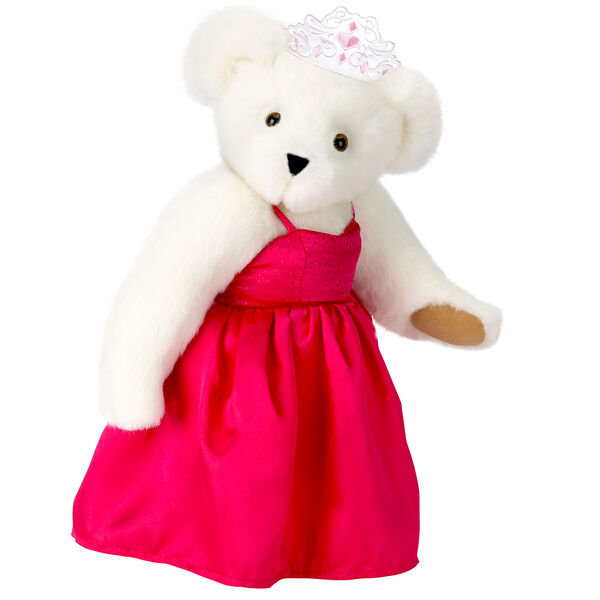 """15"""" Birthday Girl Bear - Standing jointed bear dressed in hot pink satin dress and bejeweled tiara - Vanilla white fur image number 2"""