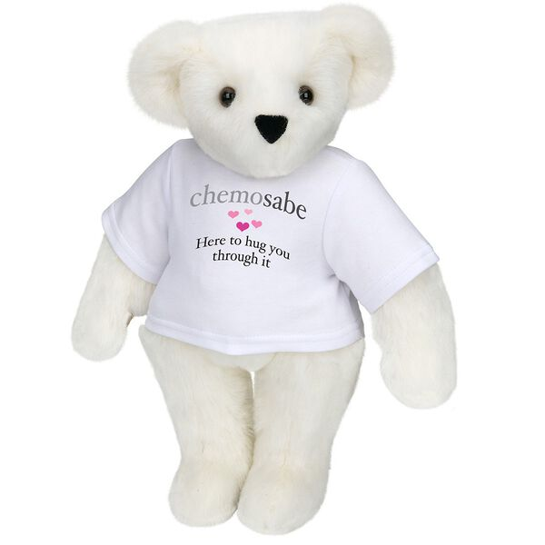 "15"" Chemosabe T-Shirt Bear - Standing jointed bear dressed in white t-shirt with gray and pink graphic with hearts that says, ""chemosabe, Here to hug you through it"" - Vanilla white fur image number 2"