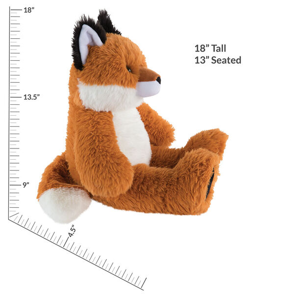 "18"" Oh So Soft Fox - Front view of seated red Fox with white belly and muzzle and black tipped ears and foot pads measuring 18 in or 41 cm tall when standing image number 6"