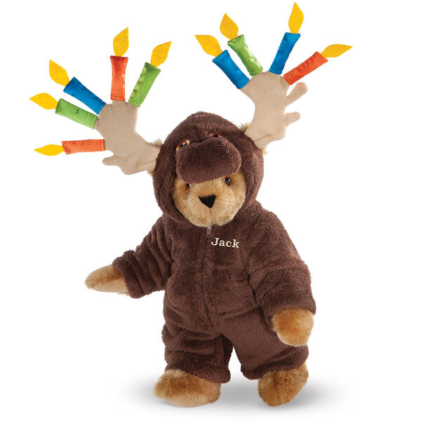 "15"" Moose Be Your Birthday! Bear - Front view of standing jointed bear dressed in a brown hoodie footie with birthday candles on the tan antlers personalized with ""Jack"" on left chest in gold lettering - Honey brown fur image number 0"
