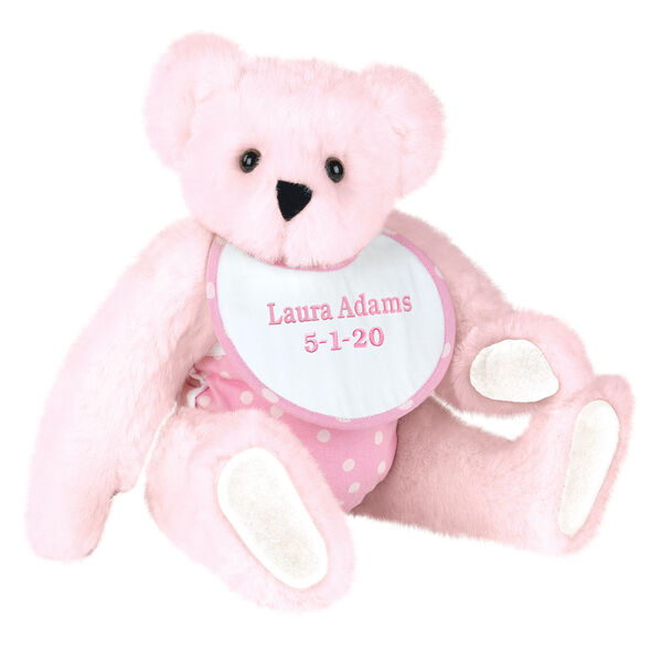 "15"" Baby Girl Bear - Seated jointed bear dressed in pink with white dots fabric diaper and bib. Bib with ""Laura Adams"" and ""5-1-20"" in light pink lettering - Pink fur image number 5"