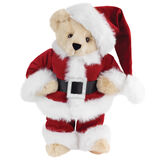 "15"" Santa Claus Bear - Front view of standing jointed bear dressed in red velvet and white fur Santa suit with pants, coat and hat and black blet - Buttercream brown fur image number 1"