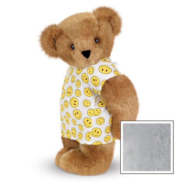 "15"" Get Well Bear - Three quarter view of standing jointed bear dressed in a white johnny with yellow happy faces - Gray image number 4"