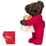 """15"""" Christmas Bedtime Bear with Puppy - Standing jointed bear dressed in white red dropseat onesie with 6"""" tan puppy. Inset image shows """"Jonathan"""" personalized on rear flap of PJ in white - Espresso brown fur image number 7"""