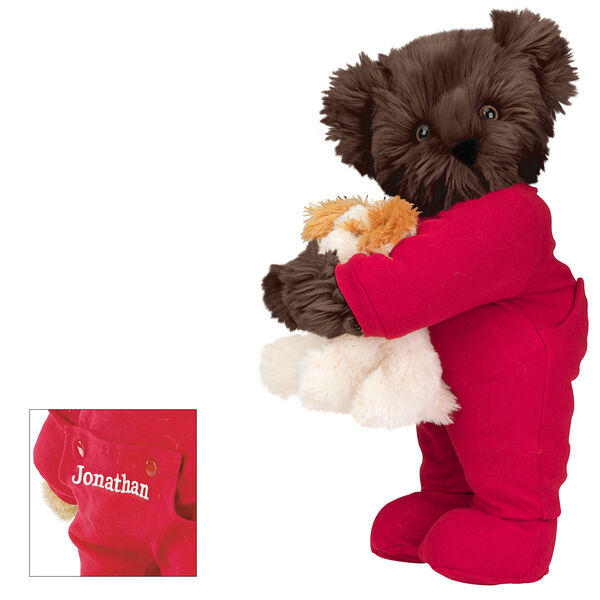 """15"""" Christmas Bedtime Bear with Puppy - Standing jointed bear dressed in white red dropseat onesie with 6"""" tan puppy. Inset image shows """"Jonathan"""" personalized on rear flap of PJ in white - Espresso brown fur image number 5"""