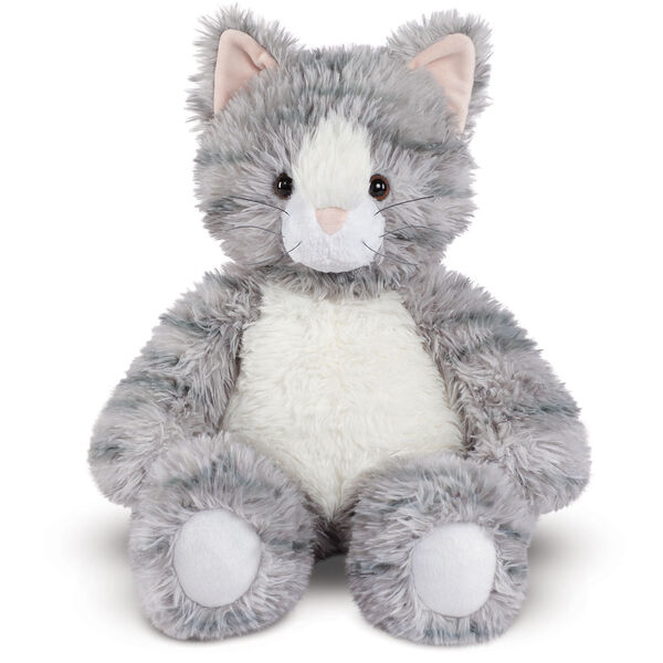 "18"" Oh So Soft Kitten - Front view of seated 18"" gray striped kitten with white muzzle, belly and foot pads  image number 0"
