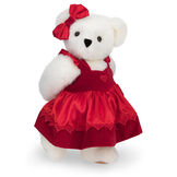 "15"" Sweetheart Teddy Bear - Three quarter view of standing jointed bear dressed in red velvet and satin dress and hair bow with heart lace trim and heart applique on front of dress - Vanilla white fur image number 2"