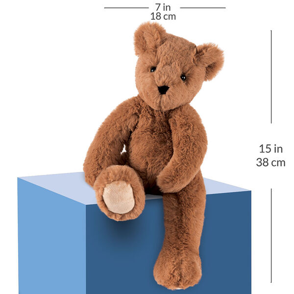 """15"""" Buddy Bear - Slim honey brown bear seated on a blue box with a width measurement of 7 in or 18 cm and and length measurement of 15 in or 38 cm long.  image number 4"""