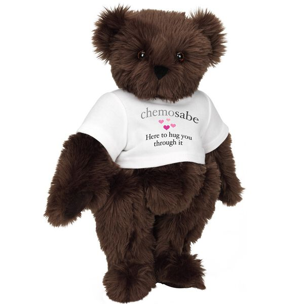 "15"" Chemosabe T-Shirt Bear - Standing jointed bear dressed in white t-shirt with gray and pink graphic with hearts that says, ""chemosabe, Here to hug you through it"" - Espresso brown fur image number 6"