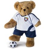 """15"""" Limb Loss and Limb Difference Bear - Front view of standing  jointed bear dressed in a Soccer outfit - Honey brown fur image number 2"""