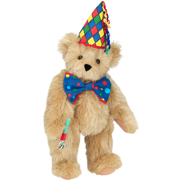 "15"" Celebration Bear - Standing jointed bear dressed in colorful diamond print party hat with ribbon streamers, a blue dot bow tie holding a party horn  - Maple brown fur image number 6"