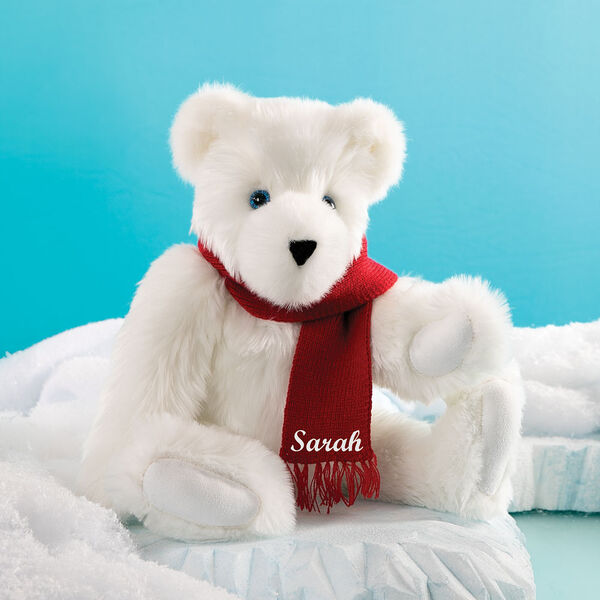 """15"""" Classic Polar Bear - Seated on an iceberg in a winter landscape, jointed polar bear with blue eyes, wears a red knit scarf personalized with """"Sarah"""" in white - Snow white fur image number 0"""