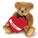 """15"""" Romantic at Heart Bear - Seated jointed bear with tuxedo collar and plush heart pillow, which is personalized with """"Sarah"""" - honey fur image number 0"""