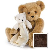 "15"" Cuddle Buddies Gift Set - Front view of seated jointed bear with ivory bear blanket with stroller strap personalized with ""Emily"" in gold lettering on corner of blanket - Espresso brown fur image number 8"
