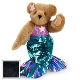 """15"""" Mermaid Bear - Three quarter view of standing jointed bear dressed in a blue sequin tail and purple top with shell embroidery an pink starfish applique and earpiece - black fur image number 5"""