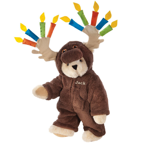 "15"" Moose Be Your Birthday! Bear - Front view of standing jointed bear dressed in a brown hoodie footie with birthday candles on the tan antlers personalized with ""Jack"" on left chest in gold lettering - Buttercream brown fur image number 1"