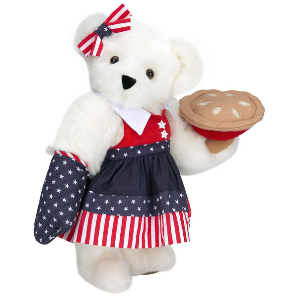 """15"""" All American Mom Bear - Standing jointed bear in a red, white and blue stars and stripes dress with matching head bow and oven mitt holding an apple pie - Vanilla white fur image number 2"""