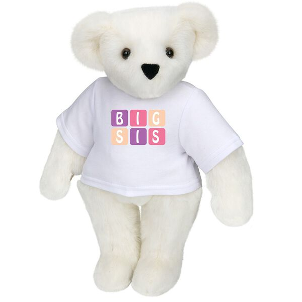"15"" BIG SIS T-Shirt Bear - Standing jointed bear dressed in white t-shirt with pink and purple graphic that says, ""BIG SIS' - Vanilla white fur image number 2"