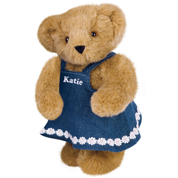 """11"""" Cub Girl Bear - Honey Brown Standing in Denim Dress with Katie personalized on the bib image number 0"""