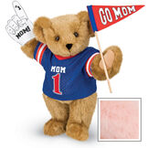 """15"""" Mom's Biggest Fan Bear - Front view of standing jointed bear dressed in a blue shirt with """"Mom 1"""" on front, holding a white foam finger that says """"#1 Mom"""" and a """"Go Mom"""" red flag - Pink image number 5"""