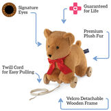 "12"" Rolling Bear Toy - 3 images: one on wooden detachable wheel frame with pull cord. One with bear and wheel frame side by side and one with bear along. Text in a fourth box reads, ""1. Rolling Bear, 2. Easily Detachable, 3. Cuddle Teddy Bear"" image number 6"