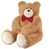 4' Big Hunka Love Bear with Bow Tie - front seated view of honey brown bear with a red velvet bow tie image number 1