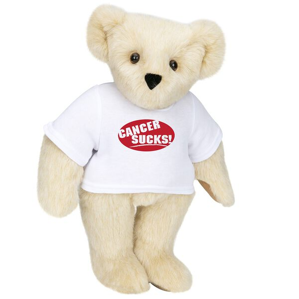 """15"""" Cancer Sucks T-Shirt Bear - Standing jointed bear dressed in white t-shirt with red graphic that says, """"Cancer Sucks!"""" - Buttercream brown fur image number 1"""