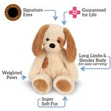 """15"""" Buddy Puppy  - Front view of seated tanPuppy with text that says, """"Signature Eyes; Guaranteed for Life; Long Limbs and Slender Body -for easy carrying-; Super Soft Fur; and Weighted Paws image number 5"""