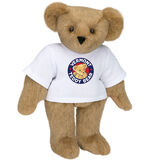 "15"" Classic Vermont Teddy Bear Logo T-Shirt Bear - Front view of standing jointed bear dressed in white t-shirt with Vermont Teddy logo on front - Honey brown fur image number 0"