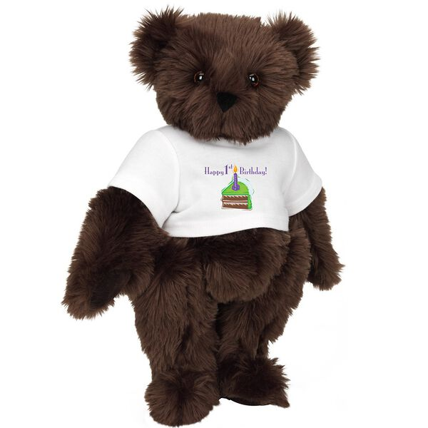 """15"""" 1st Birthday T-Shirt Bear-Chocolate Cake - Standing jointed bear dressed in a white t-shirt with a slice of chocolate cake artwork that says, """"Happy 1st Birthday!"""" on the front of the shirt - Espresso brown fur image number 7"""