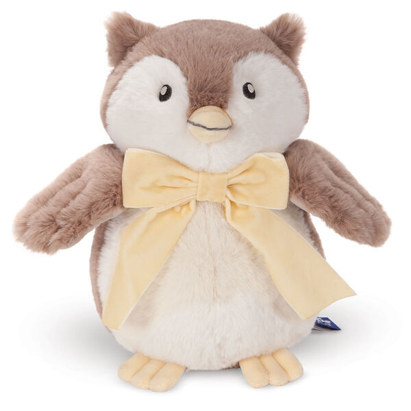 """13"""" Cuddle Cub Owl - Front view of standing brown and white plush owl with embroidered eyes and velvet ivory bow image number 4"""
