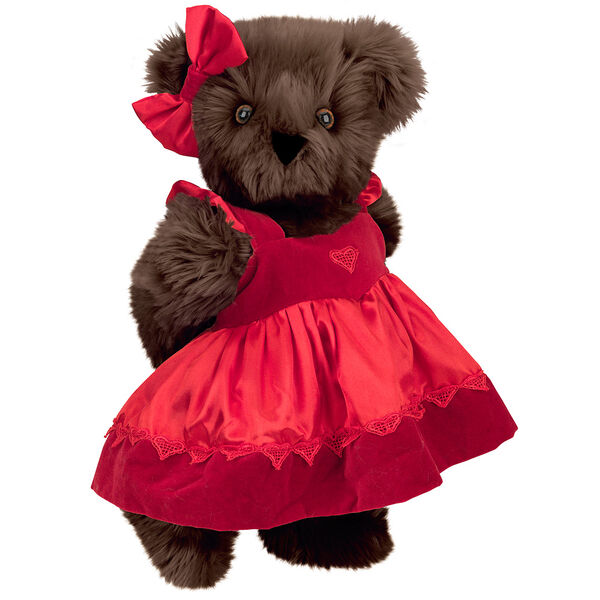 "15"" Sweetheart Teddy Bear - Three quarter view of standing jointed bear dressed in red velvet and satin dress and hair bow with heart lace trim and heart applique on front of dress - Espresso brown fur image number 6"