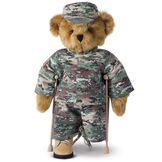 """15"""" Limb Loss and Limb Difference Bear - Three quarter view of standing  jointed bear dressed in a Camouflage outfit holding crutches - Honey brown fur image number 3"""