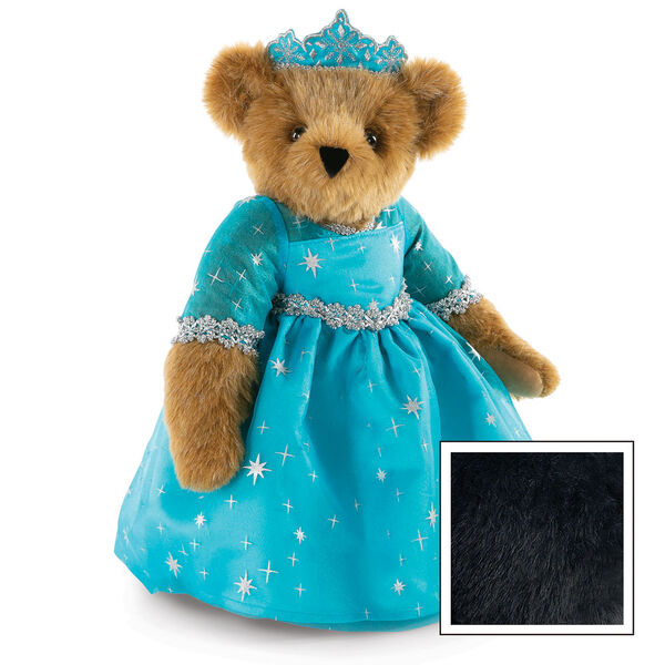 """15"""" Winterland Queen Bear - Three quarter view of standing jointed bear dressed in a blue dress with silver star tulle overlay and silver lace trim and blue and silver tiara - Black image number 6"""