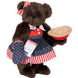 """15"""" Mom for President - Front view of standing jointed bear in a red, white and blue stars and stripes dress with matching head bow, with a """"Mom for President"""" pin holding an apple pie and a voting ballot - Espresso brown fur image number 7"""