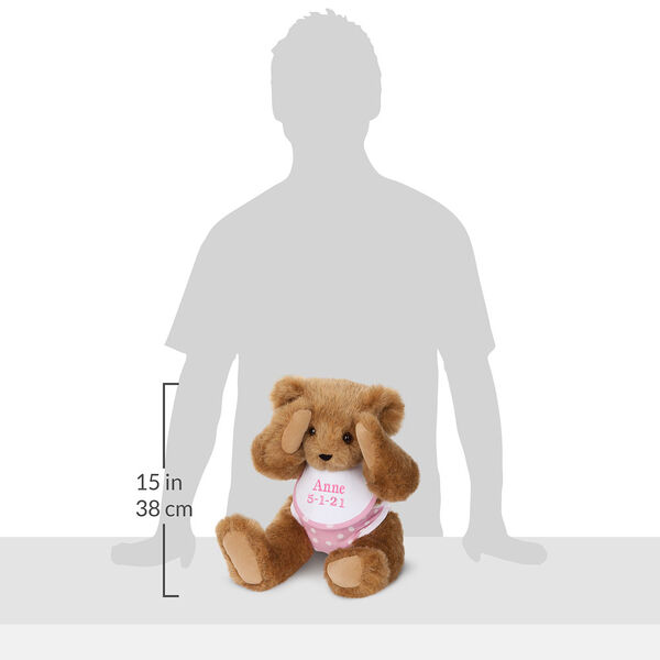 """15"""" Baby Girl Bear - Seated jointed bear dressed in pink with white dots fabric diaper and bib in the shadow of a human with a measurement of 15 in / 38 cm to the left of the bear.  image number 10"""