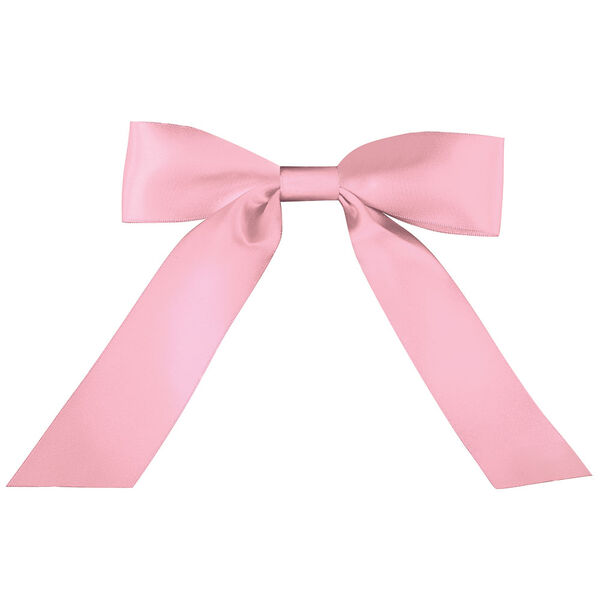"""13"""" - 20"""" pink satin bow with tails - can be personalized image number 0"""