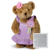 """15"""" Prettiest Mom Ever Bear - Front view of standing jointed bear dressed in a lilac sundress with felt flower pin that says """"Prettiest Mom"""" in pink and pink flower on ear; personalized with """"Anna"""" in cream on front of dress - Gray image number 4"""