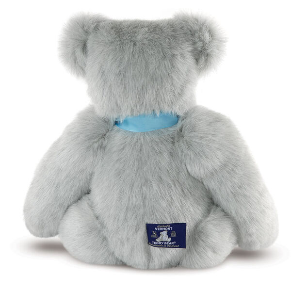 """15"""" Premium Baby Boy Bear - Back view of seated jointed gray bear wearing a blue satin bow. image number 3"""