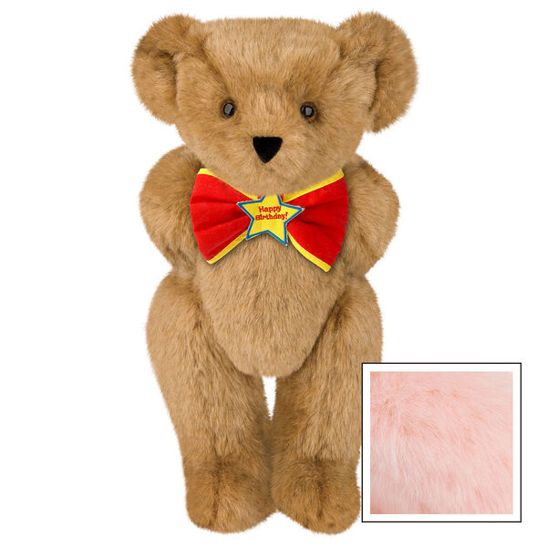 "15"" ""Happy Birthday"" Bow Tie Bear - Standing jointed bear dressed in red bow tie with yellow trim; ""Happy Birthday"" is embroidered on Star center - Pink image number 5"